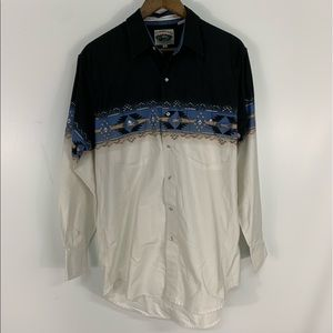 Vintage Aztec Western Pearl Snap Button Down Shirt